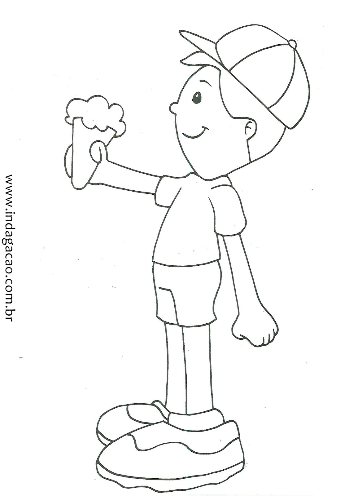 Desenho De Criancinha Com Sorvete Para Colorir Baixar