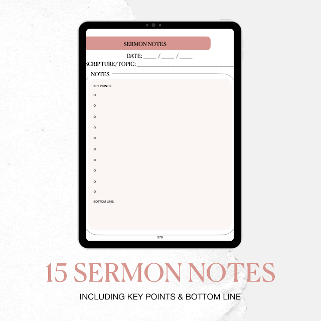 15 sermon notes includes key points and bottom line.