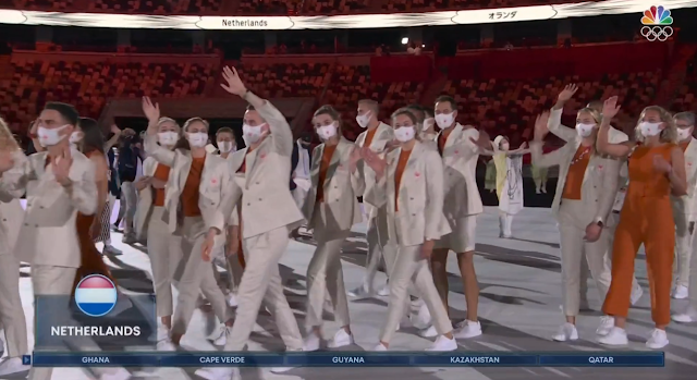 Tokyo 2021 Olympics Opening Ceremony Parade of Nations Netherlands Pokémon X Y Team Flare Admins outfits