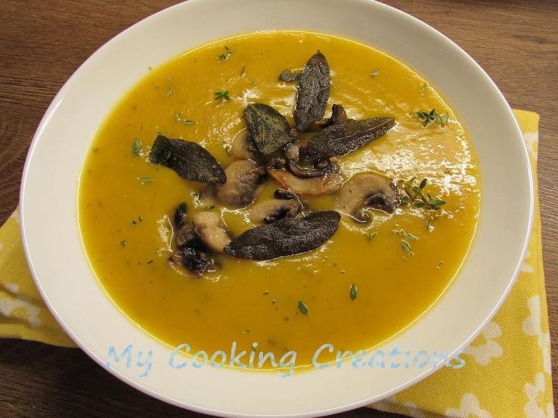 Крем супа от тиква с чипс от салвия * Vellutata di zucca con salvia croccante