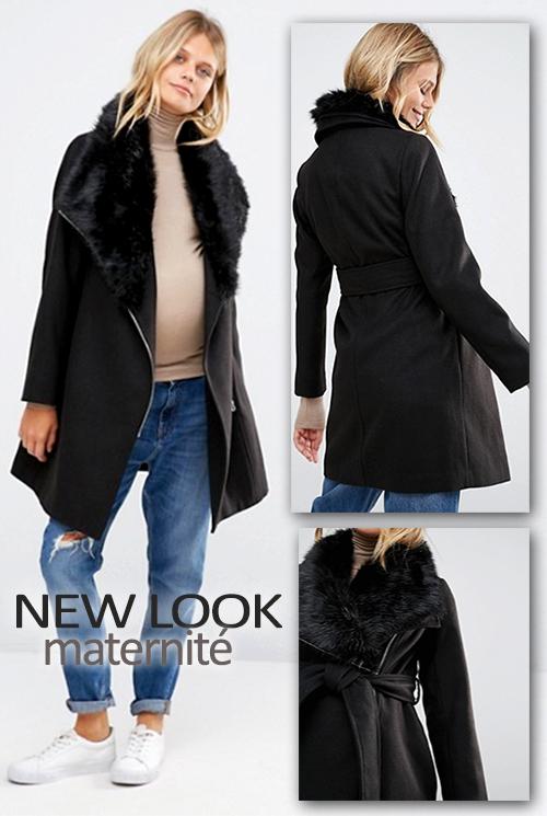 Manteau noir col fausse fourrure New Look maternité