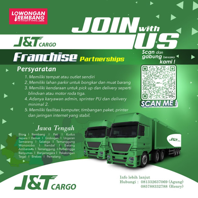 Lowongan Kerja Franchise Partnerships J&T Cargo Rembang dan Sekitarnya