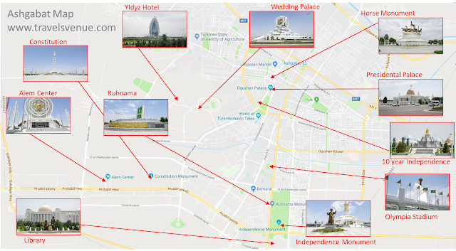 What to see and what to do in Ashgabat. The map shows the most important attractions for tourists