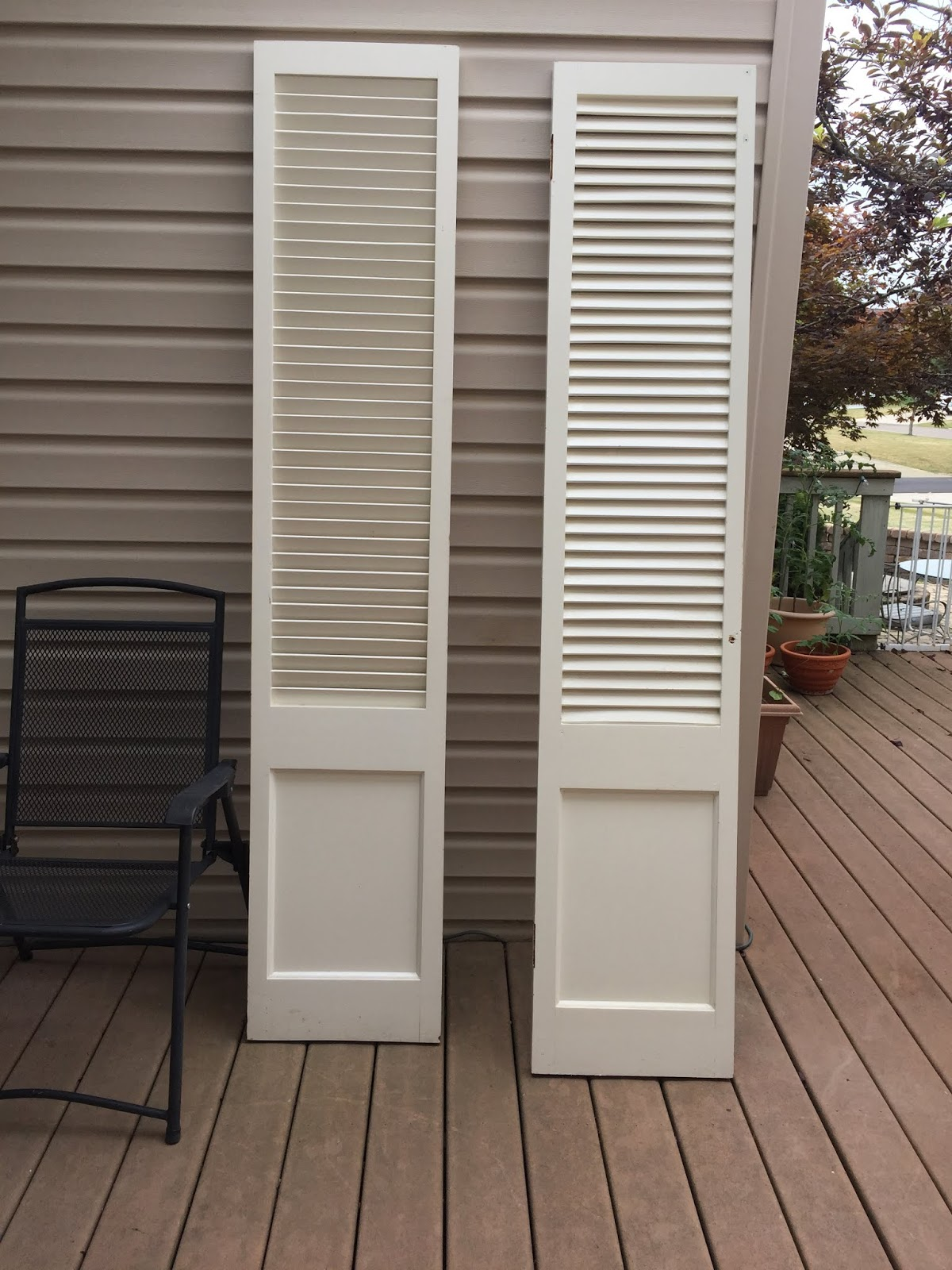 A pair of louvered doors from the ReStore.
