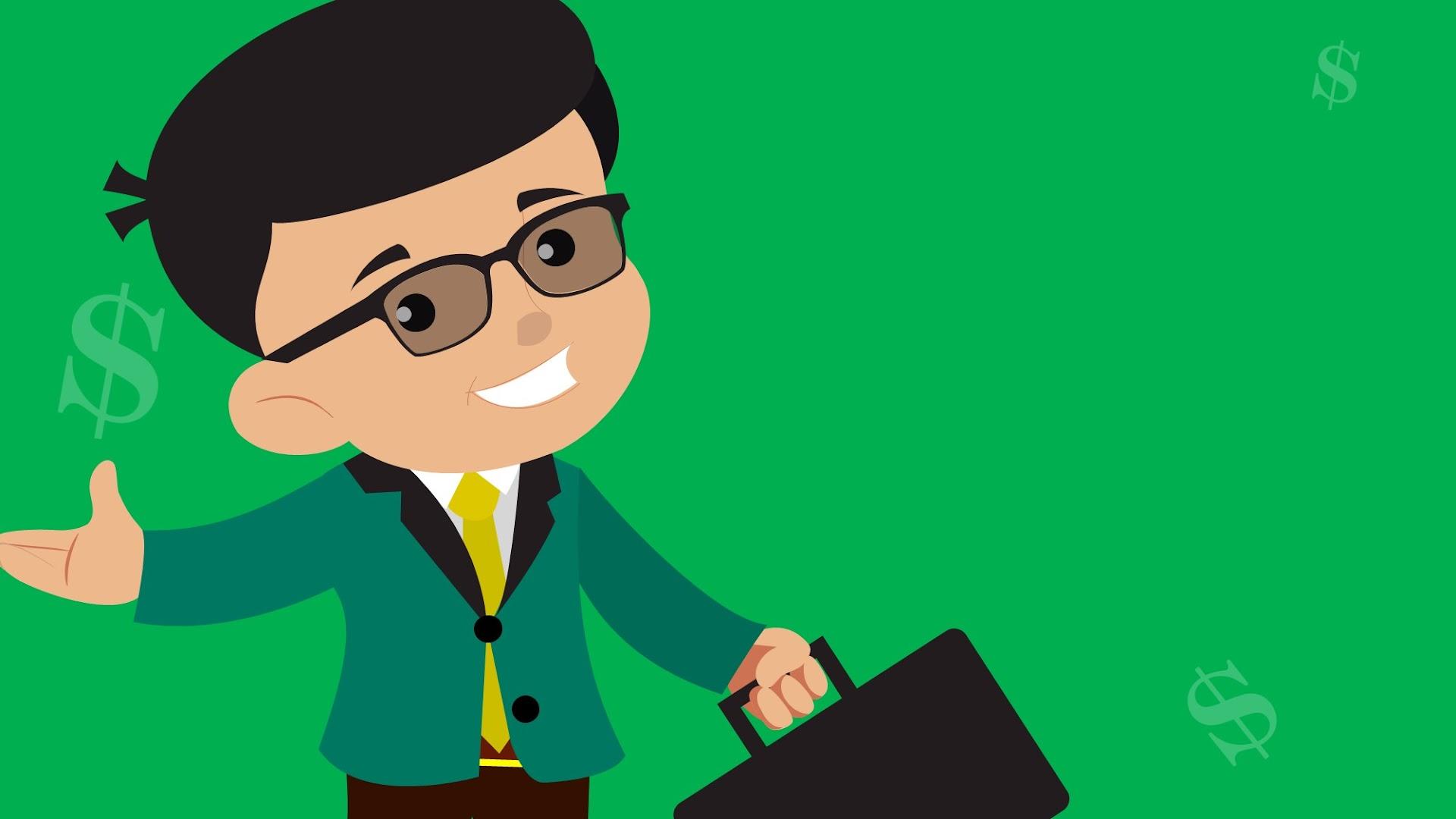 Cartoon Boy as Businessman  - free background for Presentations