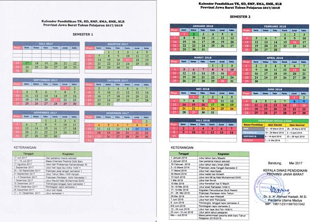 Kalender Pendidikan Provinsi Jawa Barat Tahun Pelajaran 2017-2018