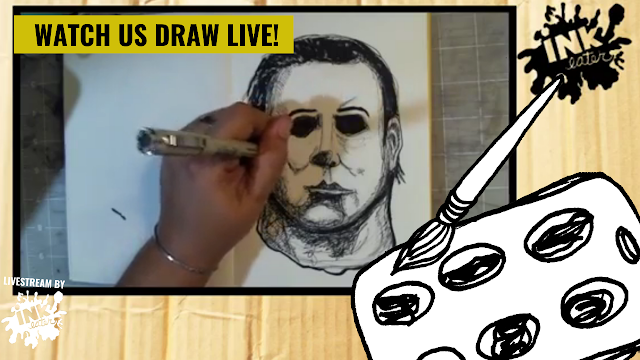 Drawing Michael Myers - Line Work Live Time lapse
