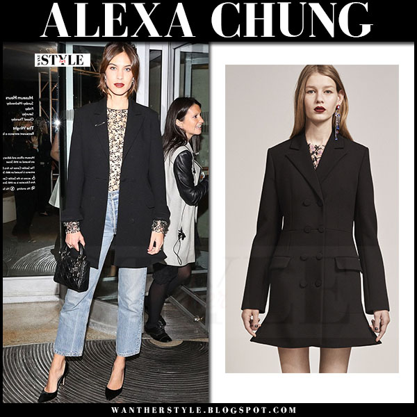 Alexa Chung in black flared blazer, cropped jeans with black bag dior lady what she wore