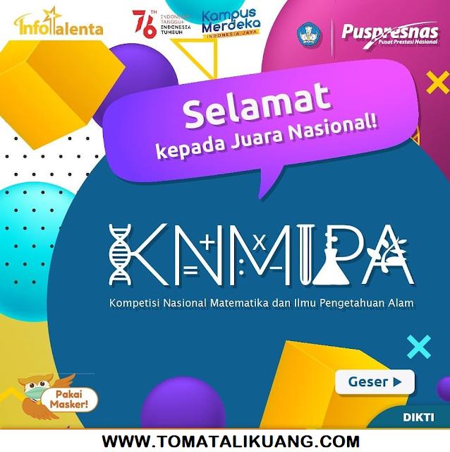 pemenang peraih medlai emas perak perunggu honorable mention kn mipa pt tahun 2021 pusat prestasi nasional tomatalikuang.com