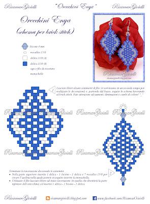 SCHEMA Orecchini Enya, progetto in brick stitch - Ricamar Gioielli