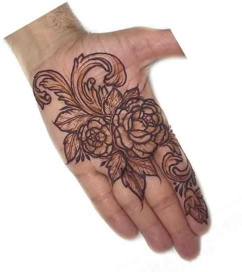 Rose Mehndi Design for front hand