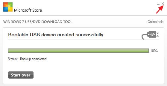 proses penyalinan file iso ke flashdisk telah selesai
