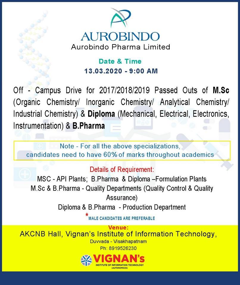 Aurobindo Pharma Limited - Off-Campus Drive for Freshers - QC | QA | Production | Formulation Plants on 13th Mar' 2020 @ Visakhapatnam