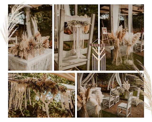 ślub boho, wesele boho, ślub cywilny, ślub plenerowy, ślub w plenerze, ślub cywilny w plenerze, makrama, makramy, trawy pampasowe, trawy ozdobne, dekoracje ślubne, florystyka
