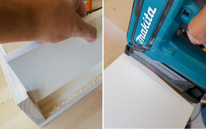 Makita pin nailer and glue being used to create wooden boxes for organizing papers