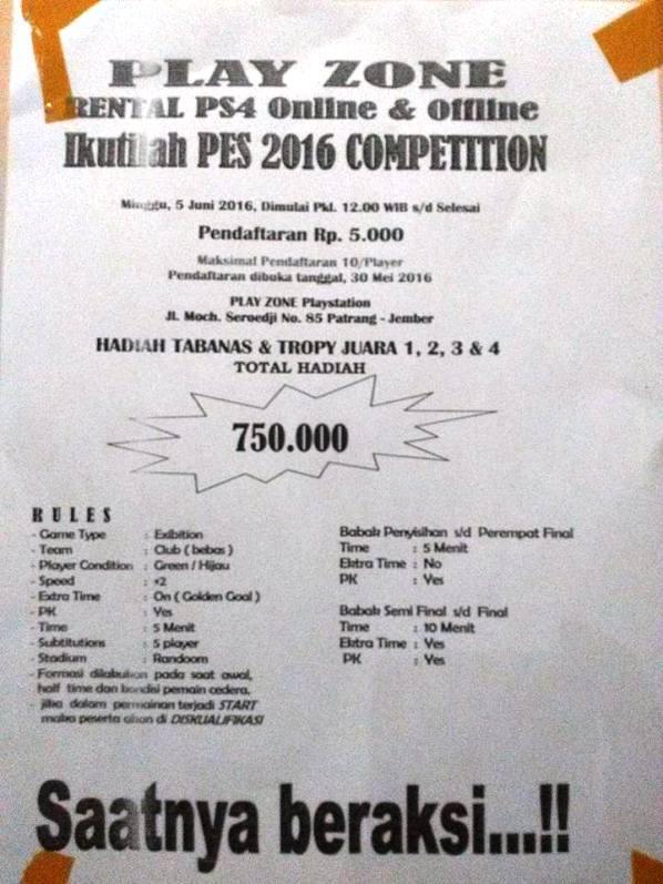 Kompetisi PES 2016 di Jember Juni 2016