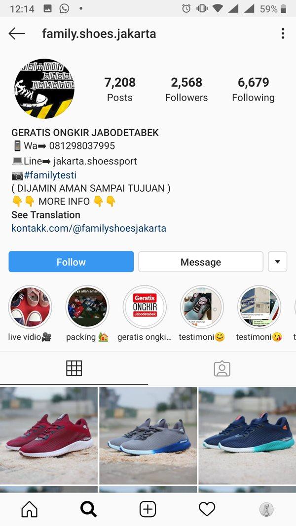 Toko Instagram Sepatu Family Shoes Jakarta Terindikasi Penipuan