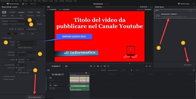 esportazione del video con deliver davinci resolve