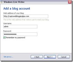Configure Windows Live Writer For WordPress