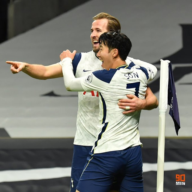 Heung-Min Son and Harry Kane celebrate the 2 - 0
