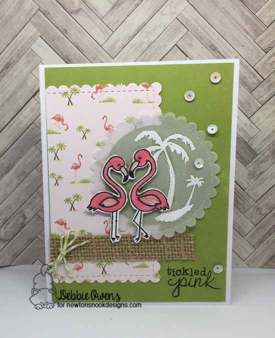Tickled Pink by Debbie features Flirty Flamingos, Framework, and Paradise Palms by Newton's Nook Designs; #newtonsnook