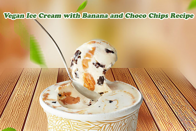 Vegan Ice Cream with Banana and Choco Chips Recipe