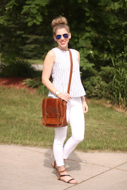 striped peplum top, white jeans, cognac crossbody messenger bag, gladiator sandals, summer outfit with white jeans,
