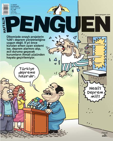 penguen deprem karikatür