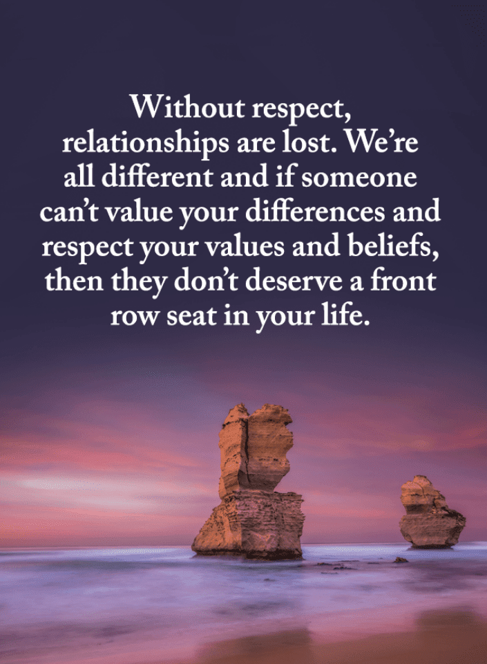Without respect, relationships are lost. We\'re all different ...