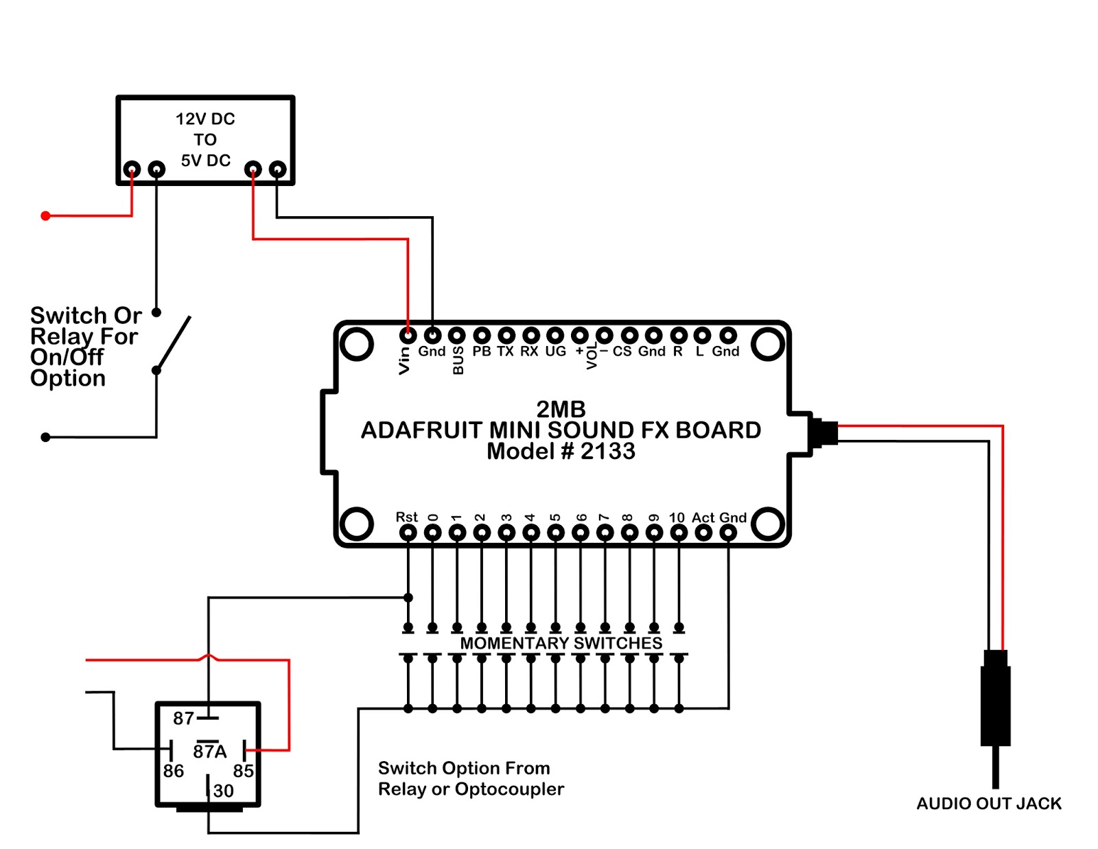 medium resolution of here is a little additional work done on the diagram to include a power on off switch and to use the option of either a relay or optocoupler as switch