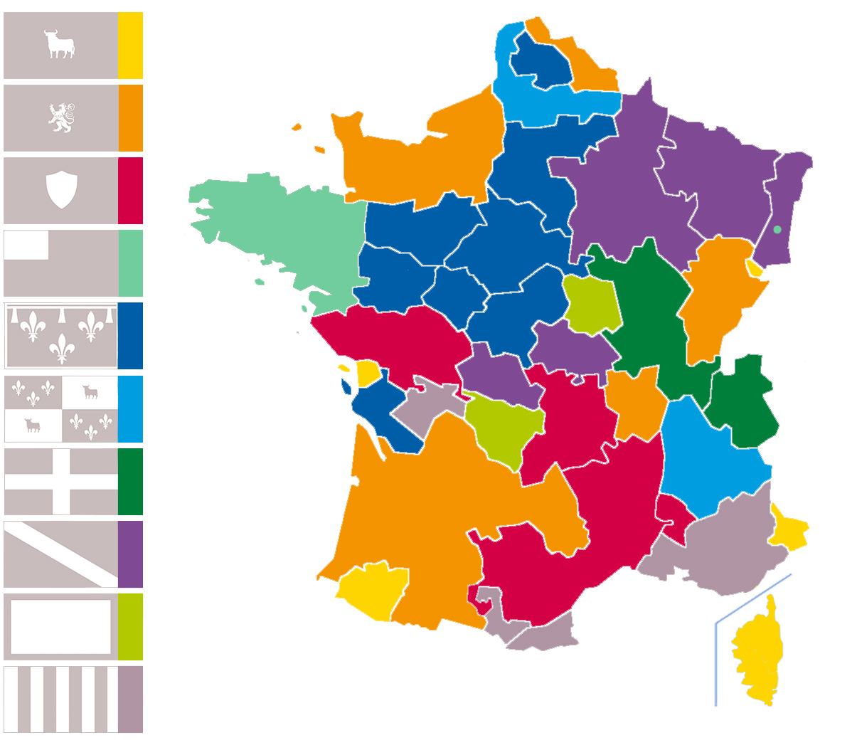 French flags types map