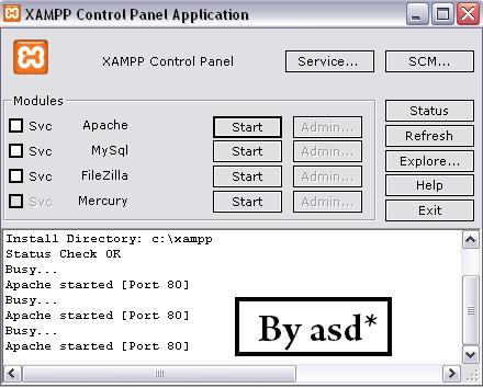 Panel de control del xampp