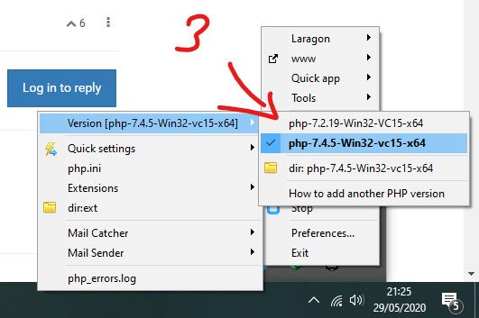 Versi PHP Laragon