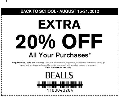 picture regarding Bealls Printable Coupons identified as Calhoun Clip-n-Savers: 20% off Bealls printable coupon: