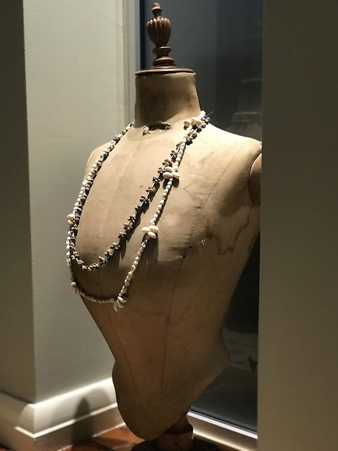 Photo of French Belle Epoque pigeon-breasted dress form with shell beads