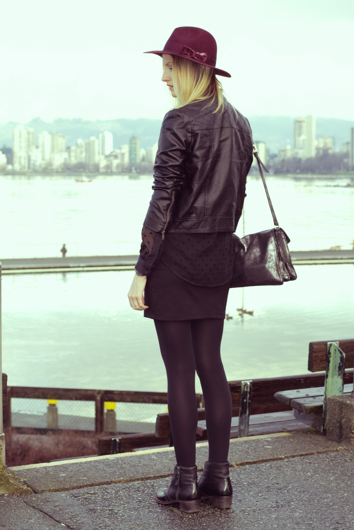 Vancouver Fashion Blogger, Alison Hutchinson, wearing Forever 21 black faux leather jacket, zara sheer black polka dot blouse, urban outfitters black bodycon skirt, topshop black leather western boots, H&M burgundy hat, Botkier silver bag