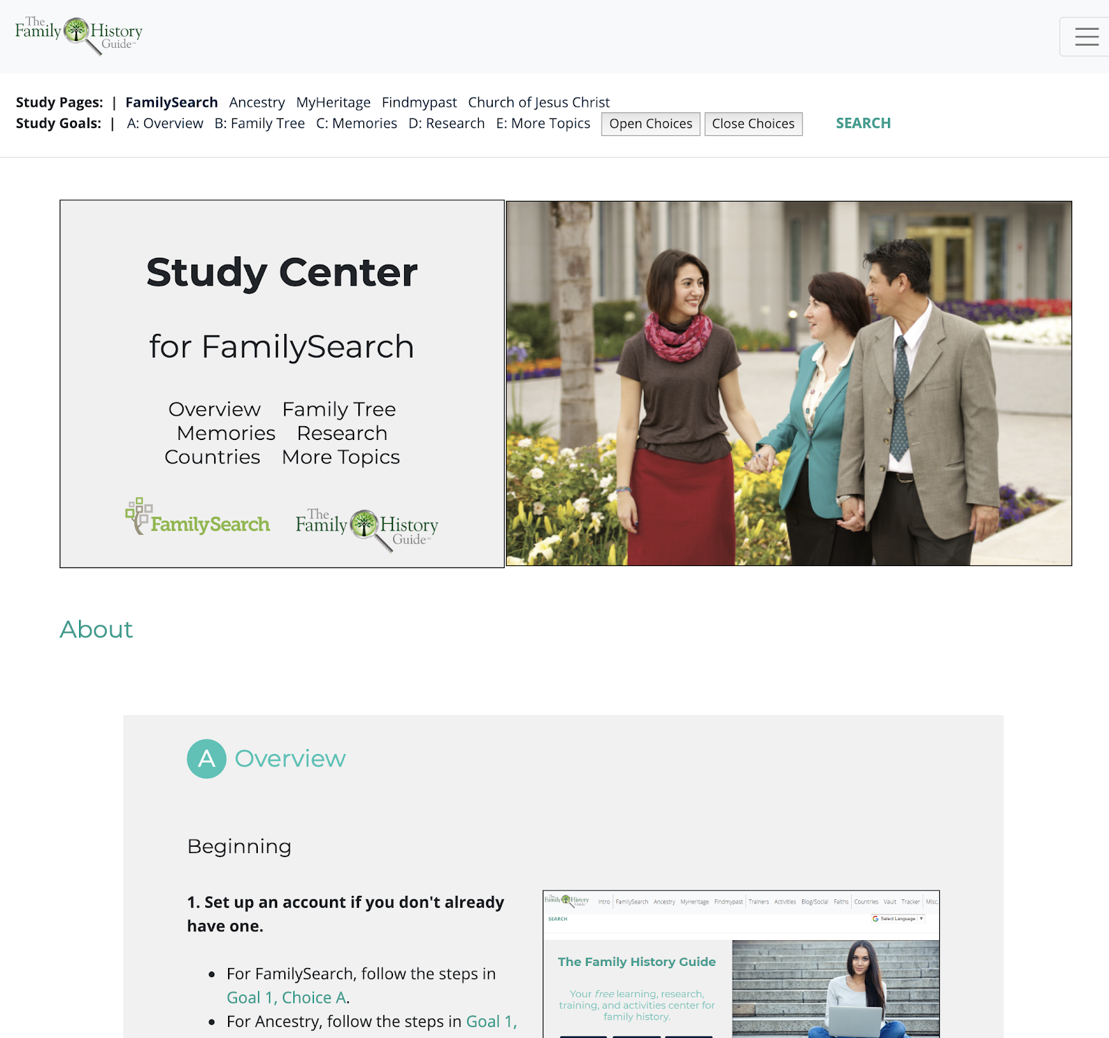 New Study Guide Section for The Family History Guide