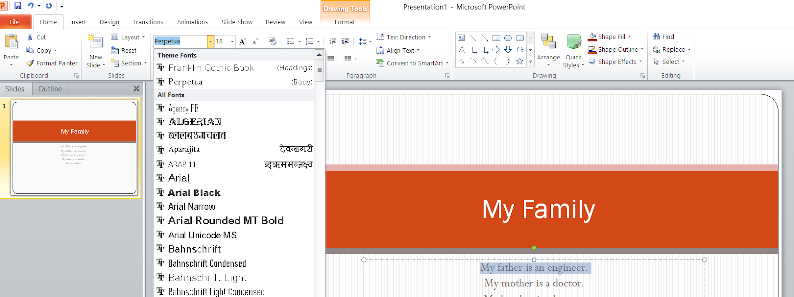 Font Face on MS Powerpoint 2007
