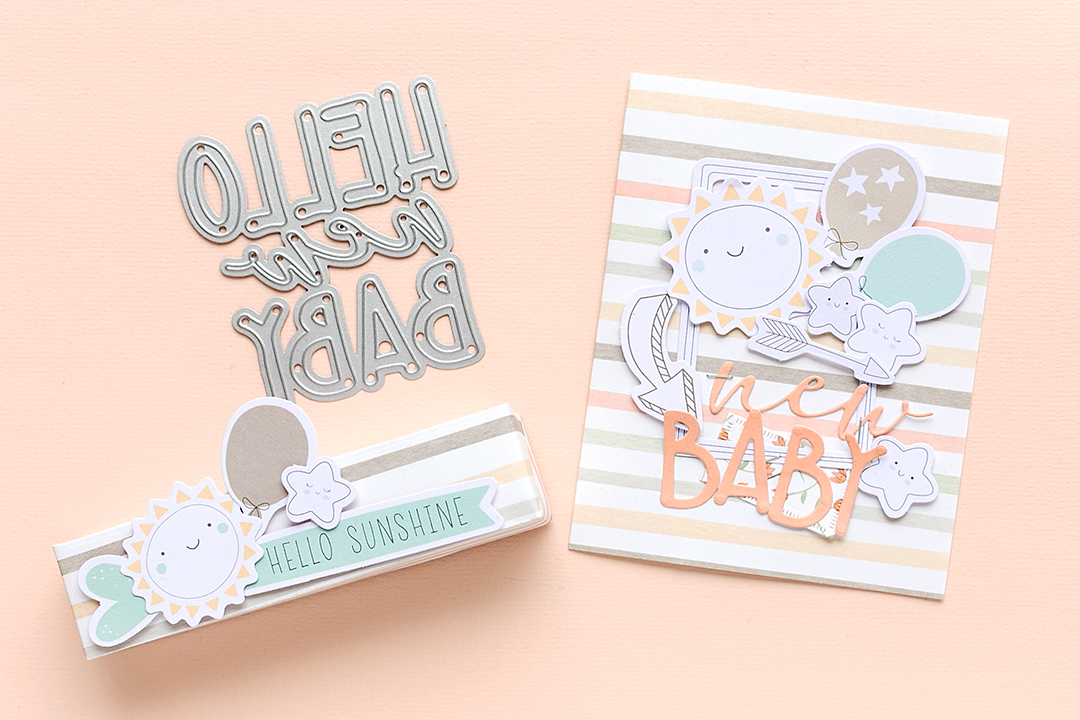 Treat box with lovely die-cuts and card with paper by Moda Scrap
