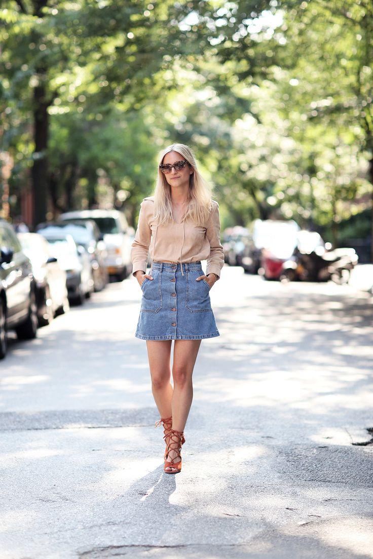 Fashion Guitar - Denim A Line Button Skirt