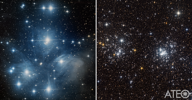 M45 - The Pleiades star cluster (left) imaged on ATEO-1 and processed by Chris Lin using Insight Observatory's online Personal Image Request (PIR) application and the Double Cluster in Perseus imaged and processed by ATEO-1 user Claudio Tenreiro.