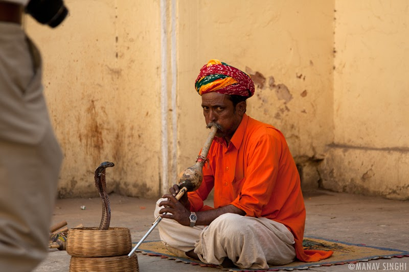 Snake Charmer at the Exit point of The City Palace Jaipur.