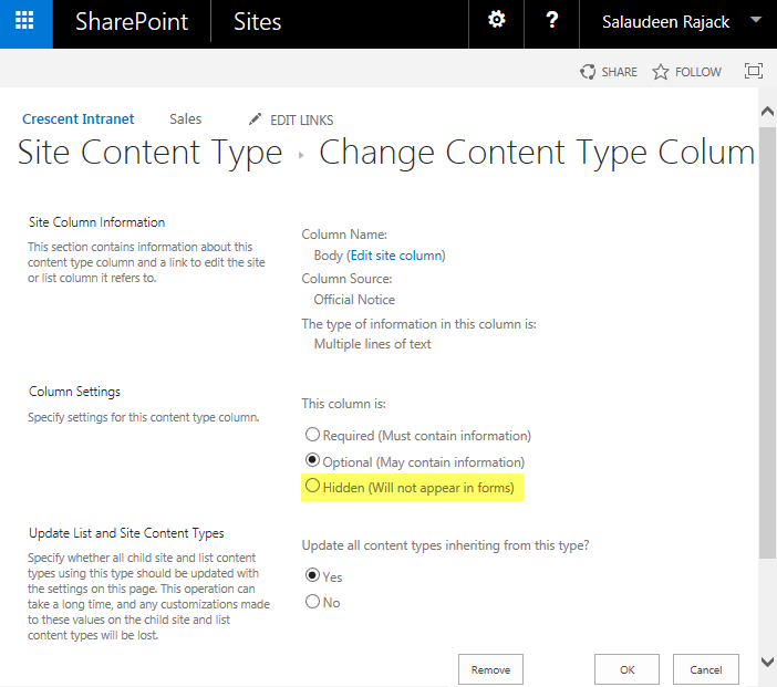 SharePoint Online: How to Hide a Column in Content Type using PowerShell