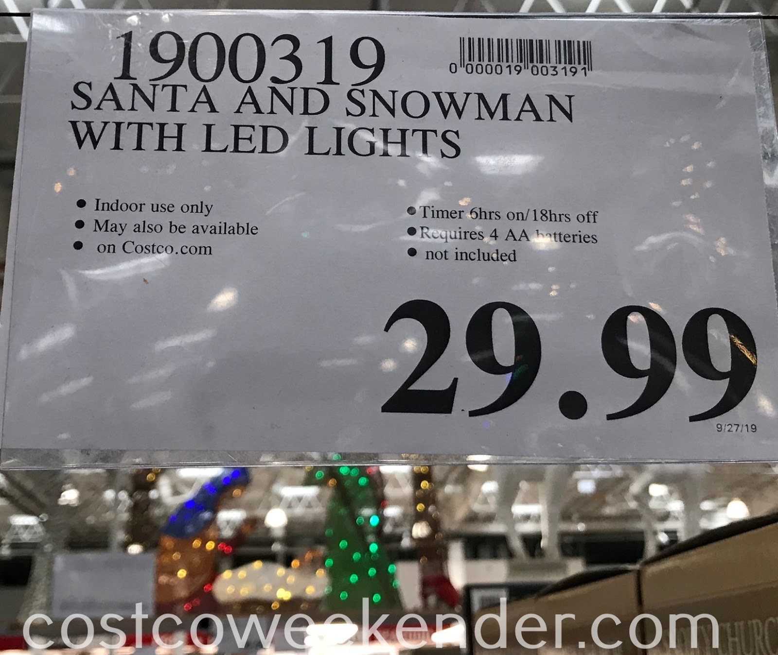 Deal for the Santa and Snowman with LED Lights at Costco