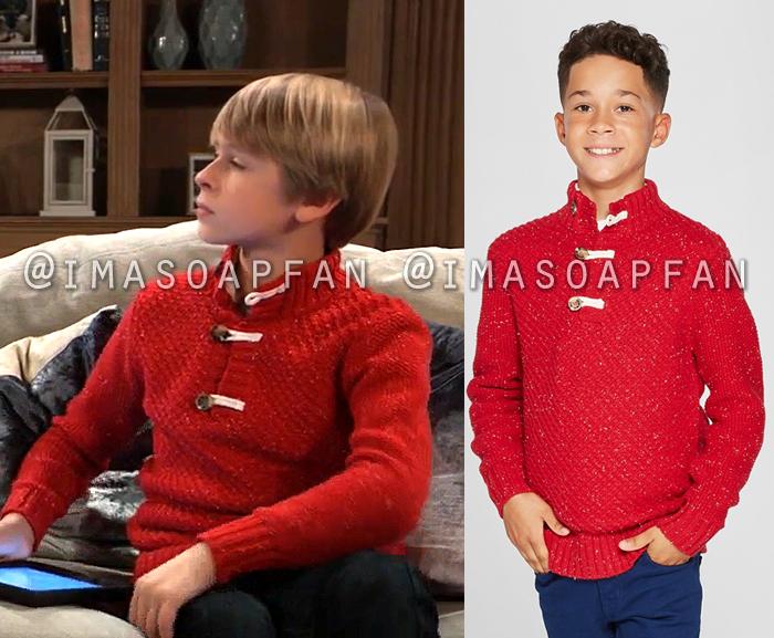 Jake Spencer, Hudson West, Speckled Red Sweater with Toggle Closure, General Hospital, GH