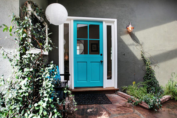 front door painted with benjamin moore cool aqua