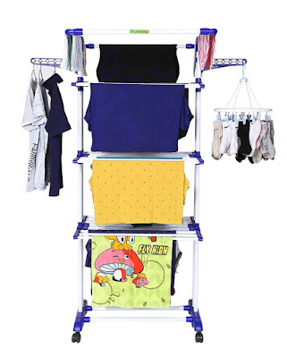 cloth stand for room, Cloth Drying Stand with Weather Resistant Frame (Blue