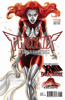 "Portadas alternativas de J.Scott Campbell para ""Phoenix Resurrection"" - Marvel Comics"