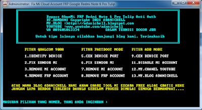 Remove Mi Cloud Account FRP Google Redmi Note 6 Pro Tulip