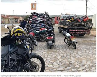 Operação apreende 40 motocicletas irregulares em três municípios da Paraíba. Cuité, Barra e Remígio
